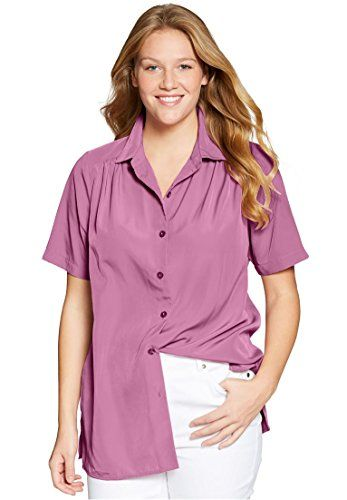 8e8f68e670ddb8 Womens Plus Size Shirt In Silky Peachskin With Short Sleeves Pleats Mauve  ** See this great product.(This is an Amazon affiliate link and I receive a  ...