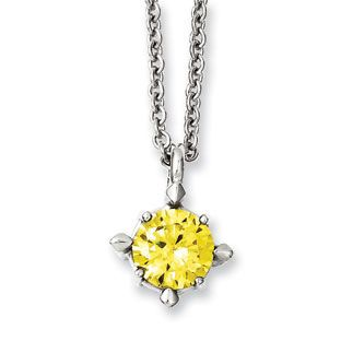 Womens stainless steel solitaire yellow cz pendant necklace jewelry womens stainless steel solitaire yellow cz pendant necklace jewelry available exclusively at gemologica mozeypictures Choice Image