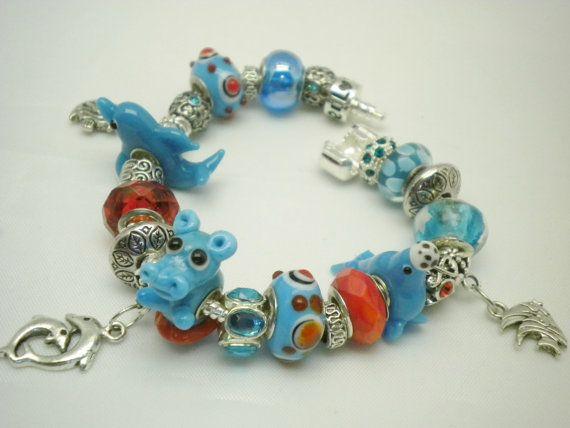 European Animal Charm Bracelet Hippo, Dolphin Seal w/Murano Glass, Lampwork & Rhinestone Beads