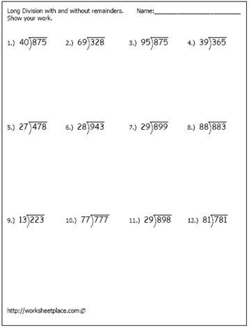 Worksheets 5th Grade Long Division Worksheets long division 3 digits by 2 5th grade worksheet 1