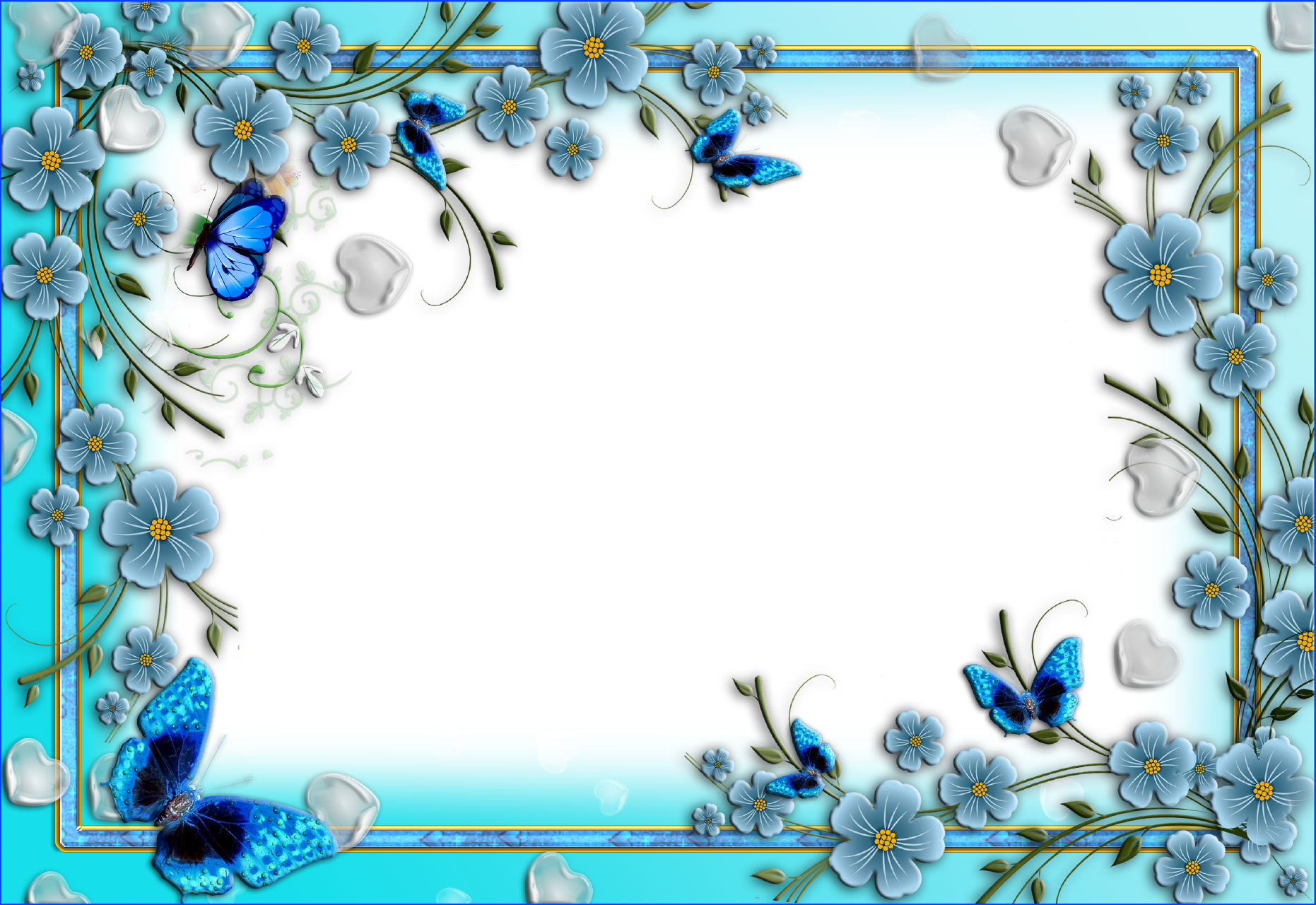 Pics For > Blue Floral Border | Printable frames, Flower ...