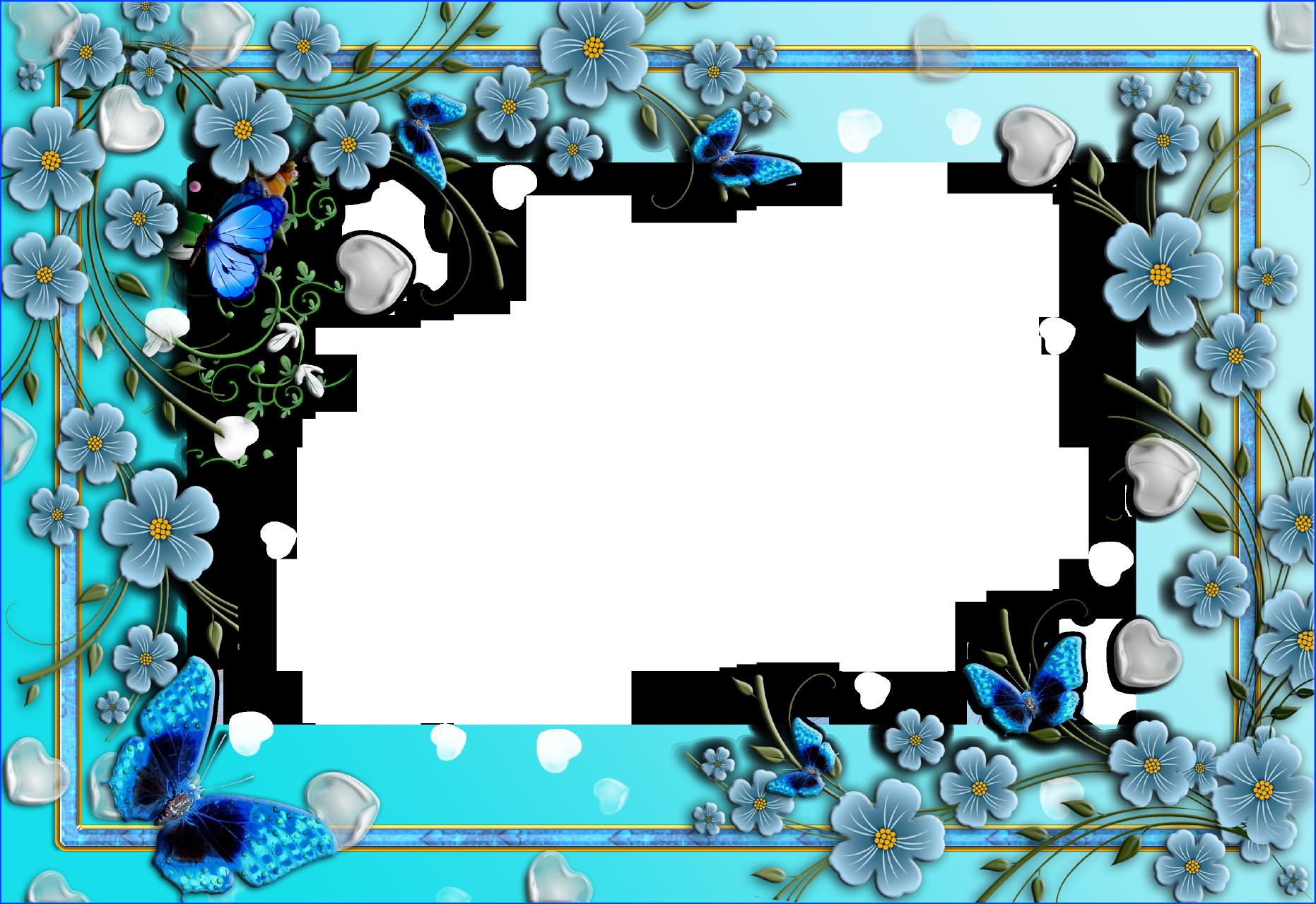 Pics For > Blue Floral Border Flower frame, Printable