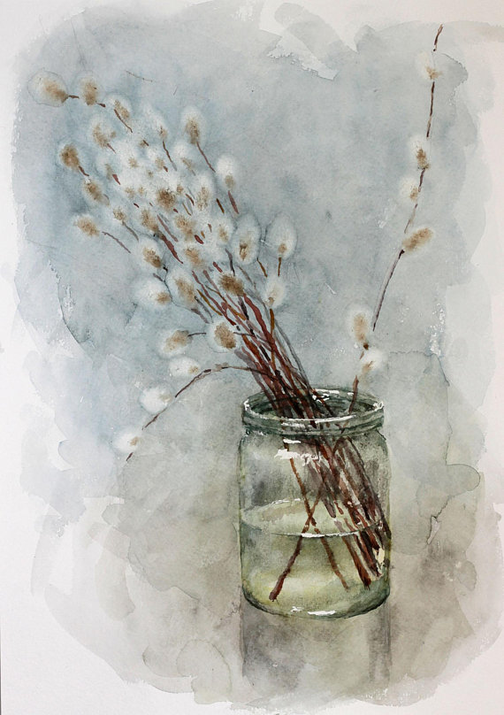 Original watercolor painting willow, Spring watercolor art willow watercolor original art, original painting willow, willow anniversary gift #watercolorart