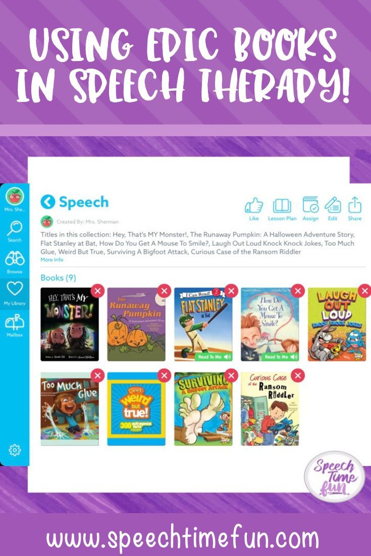 Using Epic Books in Speech Therapy SLP Books/ literacy