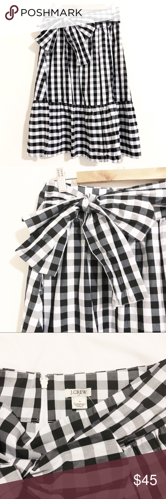 32a2c28e9b2f JCREW Gingham Big Bow Midi Skirt JCREW Factory Big Bow Midi Skirt Size 0 in  Black and White Gingham Adorable skirt with pockets Sits above waist and  falls ...