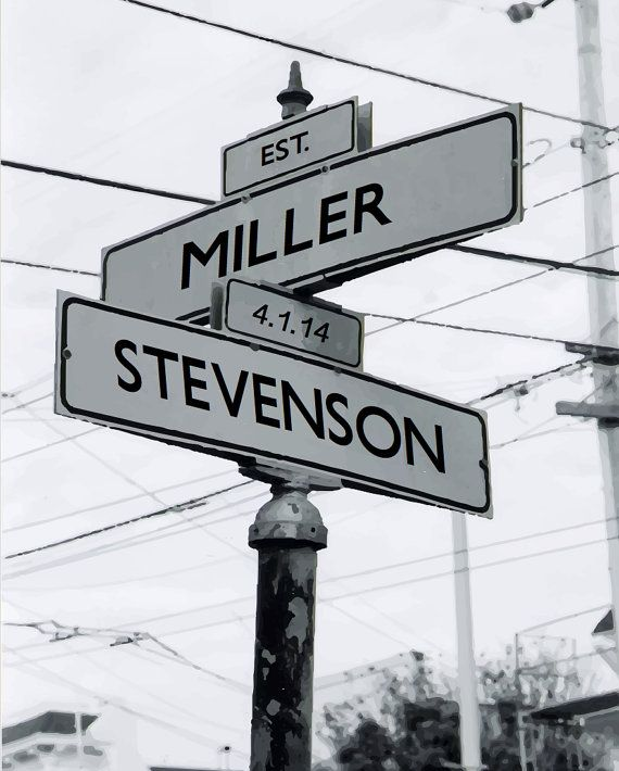 Personalized intersection street sign gift names or for Street sign tattoos