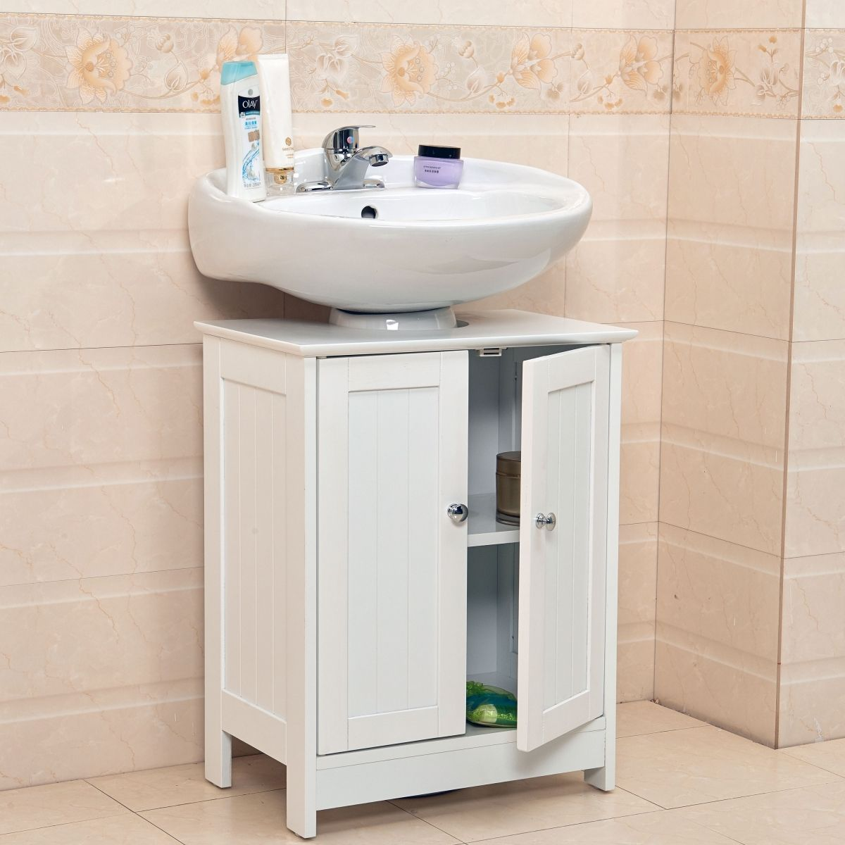 Undersink Bathroom Cabinet Cupboard Vanity Unit Under Sink Basin Throughout Bathroom Cabin Pedestal Sink Storage Bathroom Cupboard Storage Small Bathroom Sinks