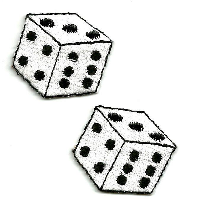 Set Of Two (2) Dice Gambling Game Pieces Embroidered Iron On Applique Patches