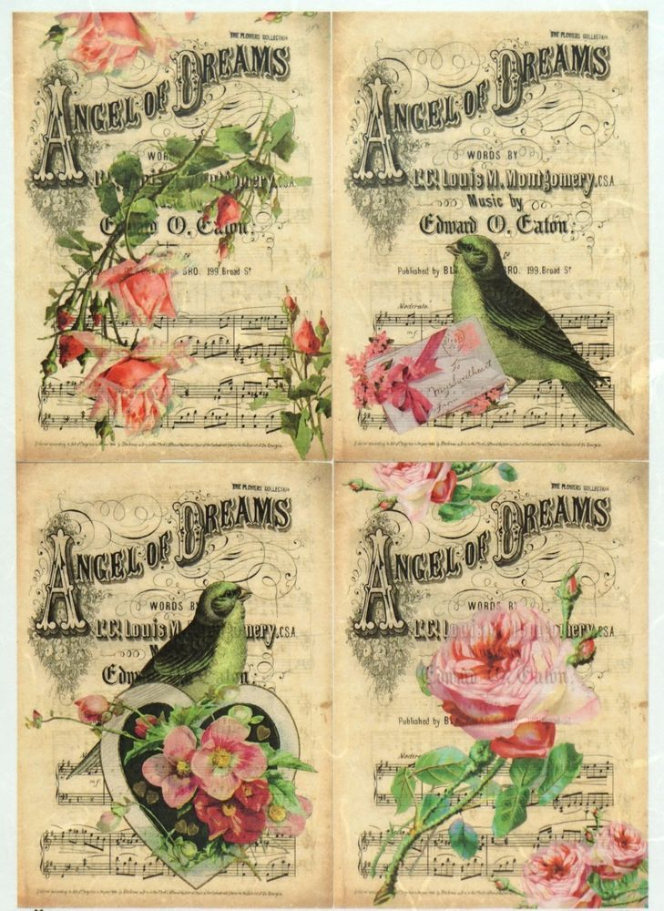 Rice Paper for Decoupage Decopatch Scrapbook Craft Sheet Vintage Roses Stamp