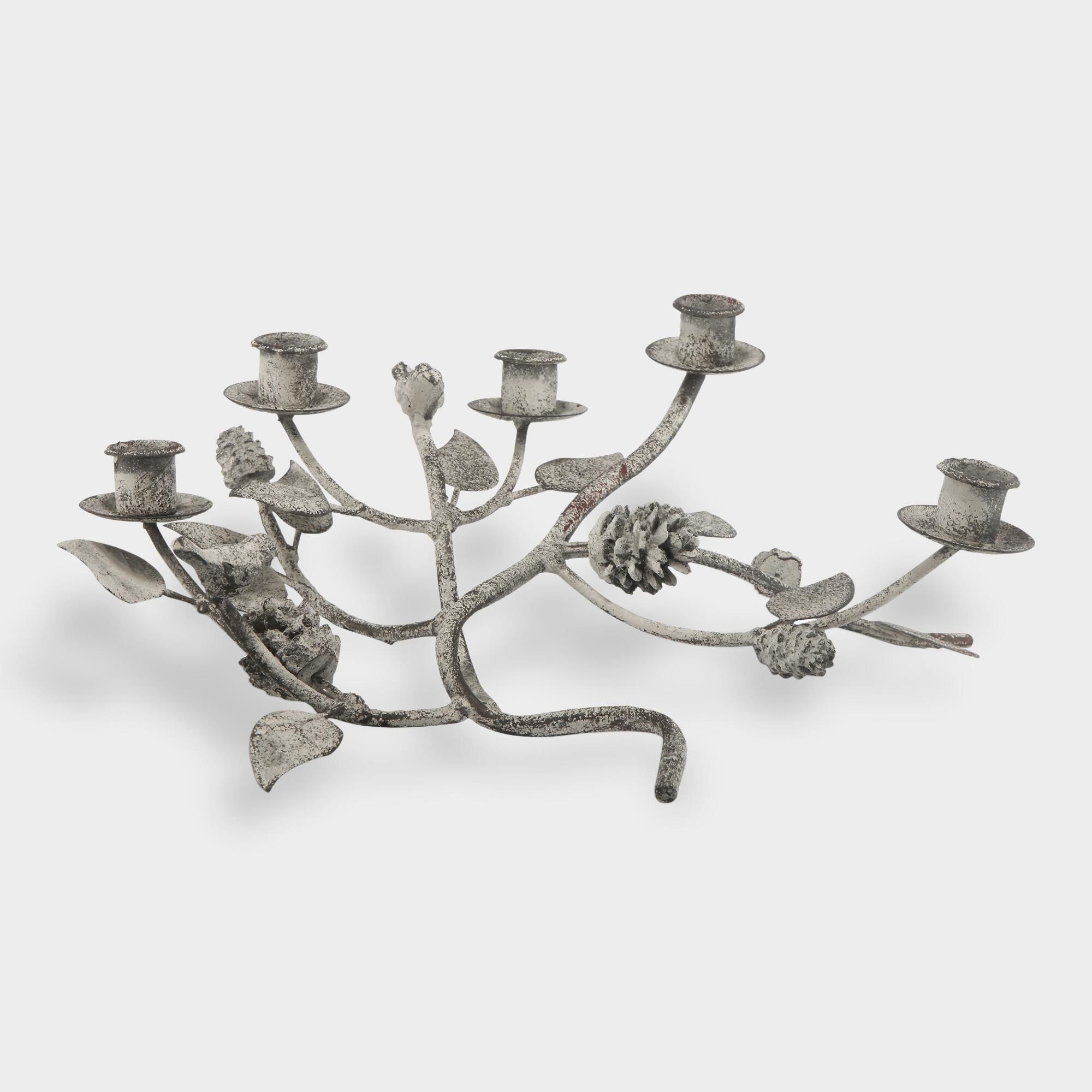 Antique metal tree branch taper candleholder by world market
