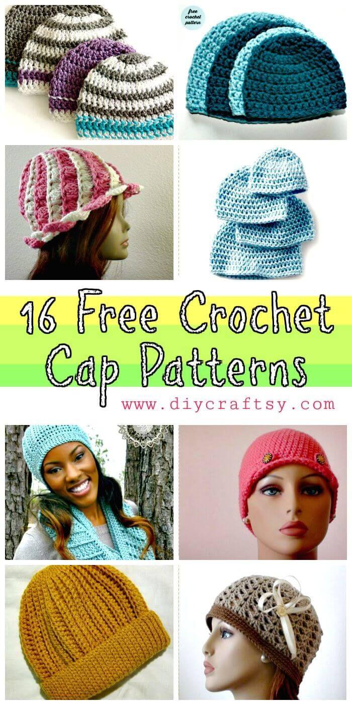16 Free Crochet Cap Patterns / Crochet Hat | Crochet 8 enlaces ...