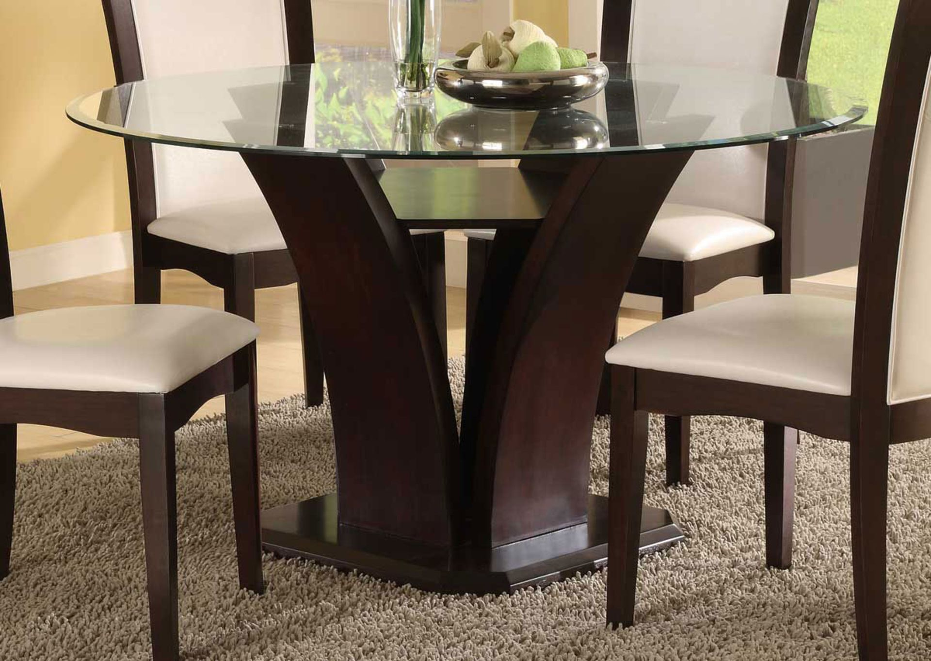 Glass and wood dining room tables - Room Designs Bianca Glass Top Dining Table