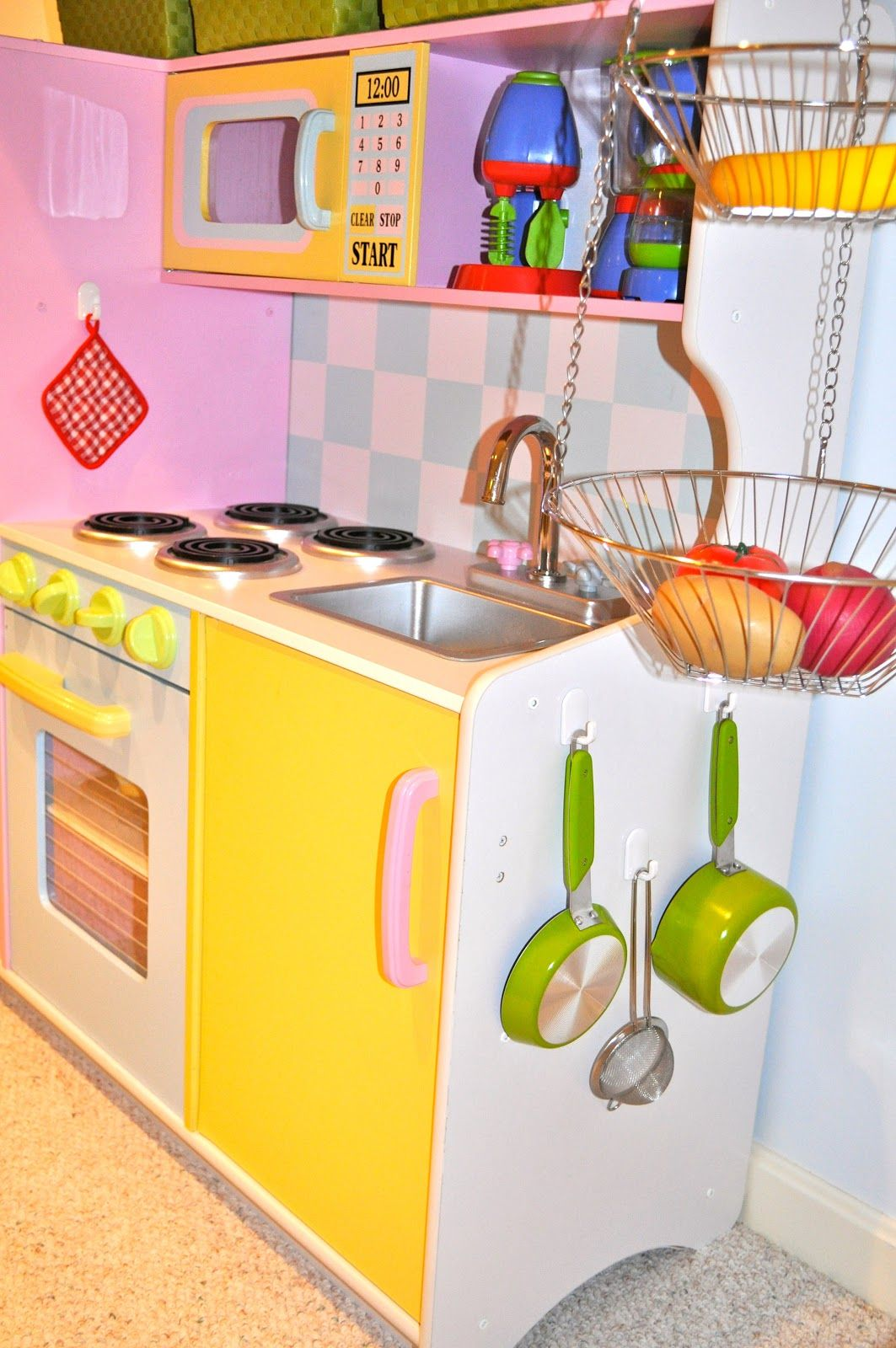 For storing play food new house ideas pinterest play for Playroom kitchen ideas