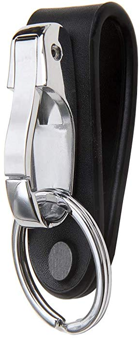Men Metal Black Leather Key Ring Snap Hook Keyfob Lobster Clasp Fashion Gift