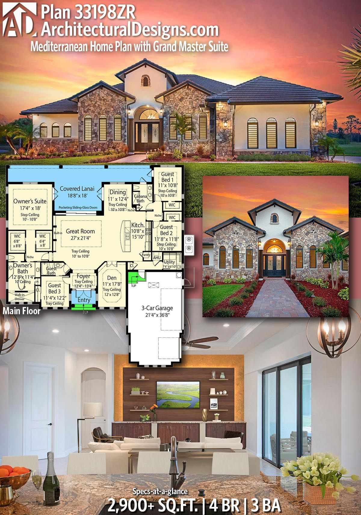 Plan 33198ZR: Mediterranean Home Plan with Grand Master ... on eco-friendly house plans, amish house plans, blueprint house plans, most efficient house plans, energy efficient house plans, unique small house plans, medium house plans, cheap house plans,