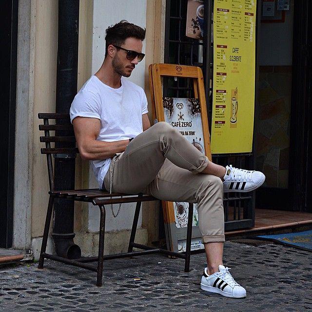 white adidas superstar men