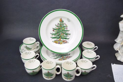 Details about 14 Pc Set Spode Christmas Tree (6) Cups  Saucers + (2