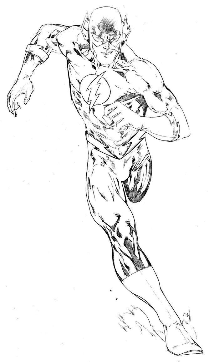Running Flash Superhero Coloring Pages Kleurplaten