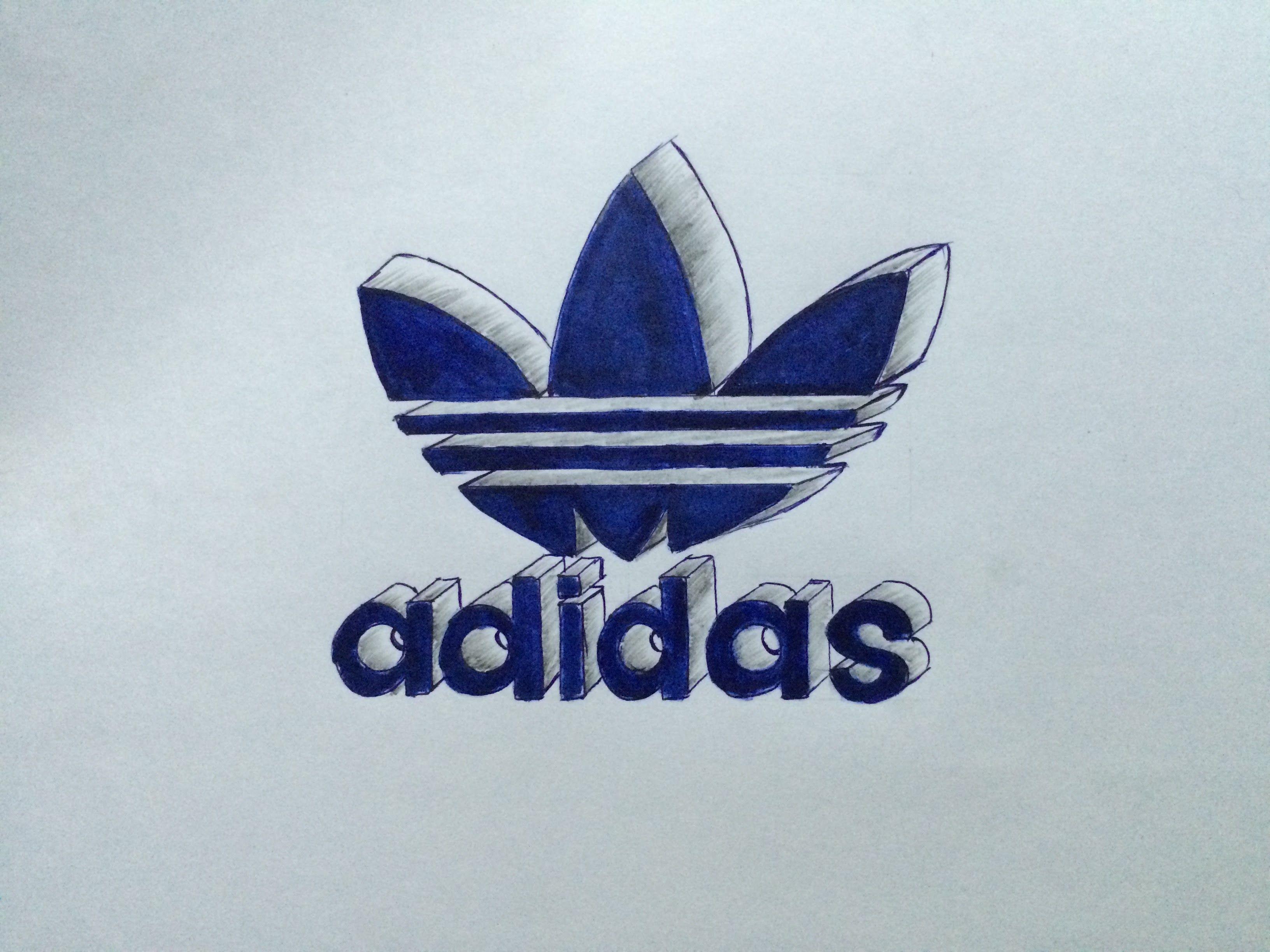 How to draw adidas originals logo in 3D Trefoil adidas