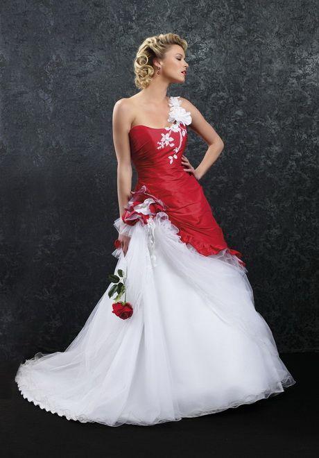 Robe de mariage rouge et blanche