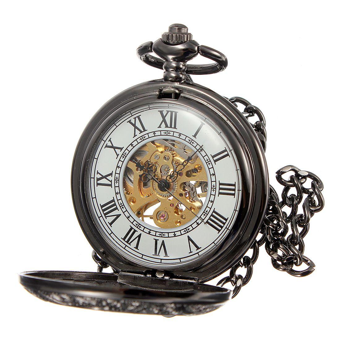 ec0f7c1b2d56c Roman Numerals Black Tone Chain Mechanical Pocket Watch