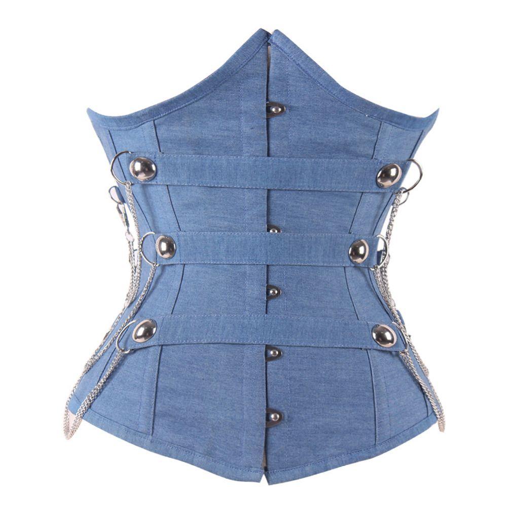 Steampunk Waist Training Corsets Underbust Jeans Blue