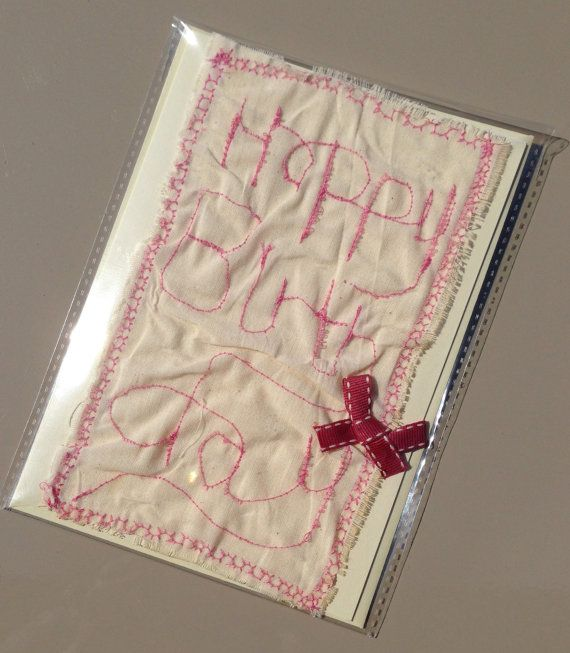 Handmade Pink Stitched Linen Rustic Happy by CharlotteTamar, £6.00