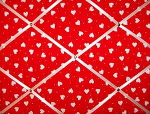 Medium Red  White Heart Hand Crafted Fabric Notice  Pin  Memo