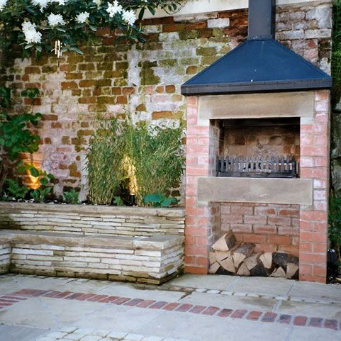 Rustic Brick Wall And Fireplace Would Love This In My Back Yard