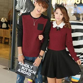 00df4fea1e Buy 'Hanee – Couple Set: Contrast-Collar Embossed Panel Dress Embossed  Panel Top' with Free International Shipping at YesStyle.com. Browse and shop  for ...