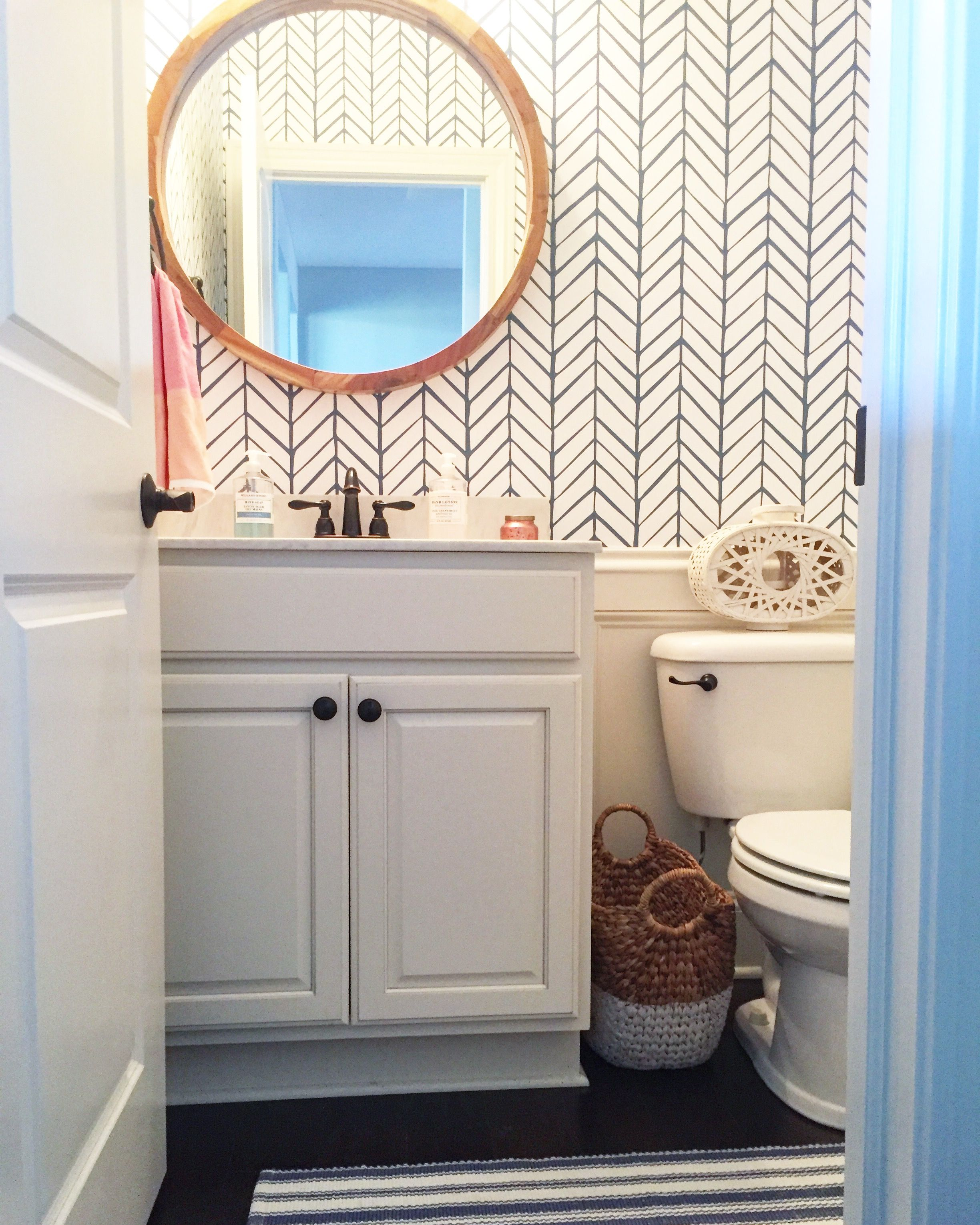 Serena and Lily wallpaper coastal bath Bathroom