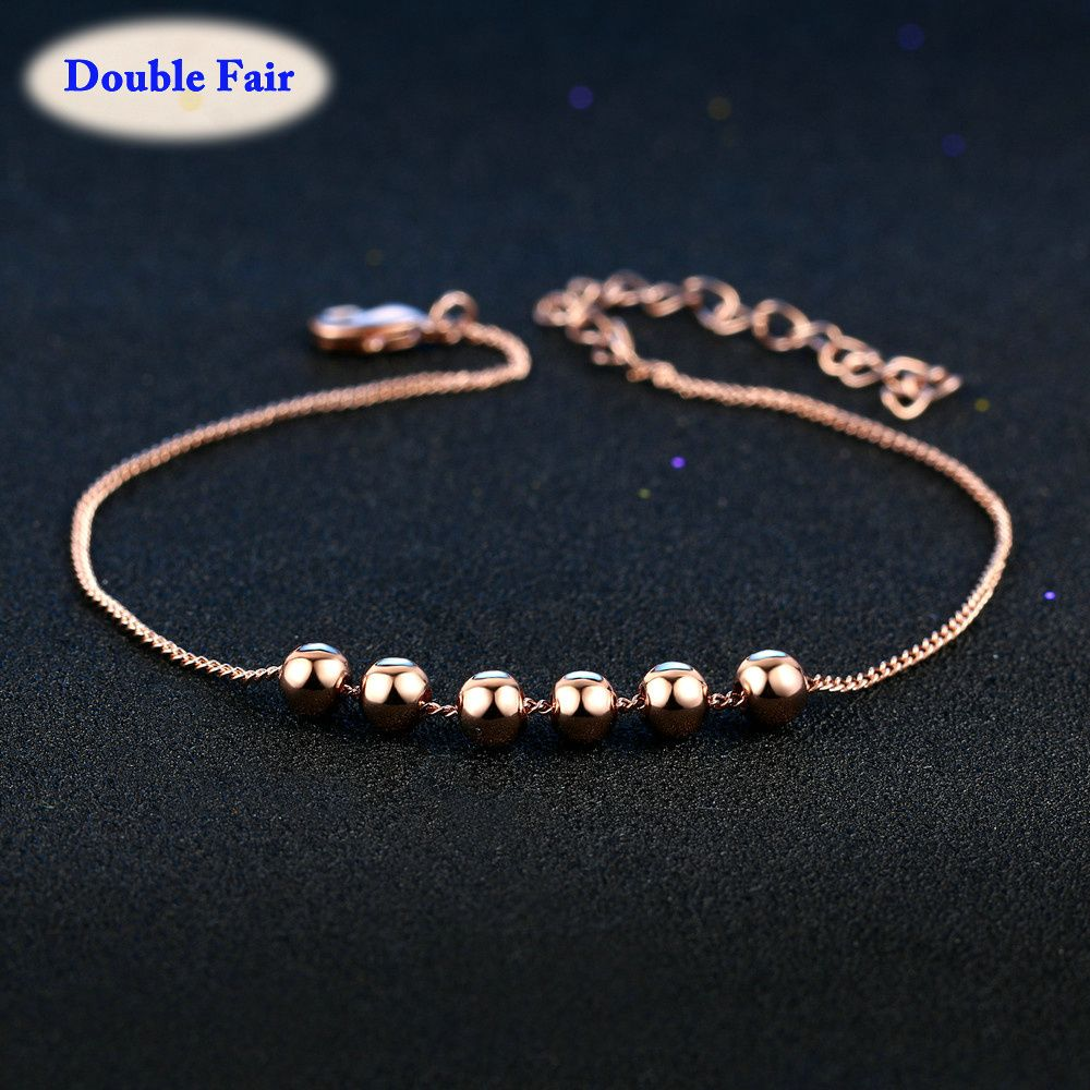 Round Simple Beads Silver Rose Gold Color Charm Bracelets Fashion Jewelry  For Women Girls Chain DWH083 dec077c7fa6e