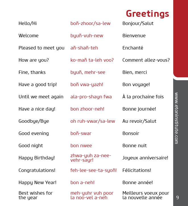 Learn how to greet in french with eton institutes language learn how to greet in french with eton institutes language phrasebooks tip use the transliteration in red to perfect your pronunciation m4hsunfo