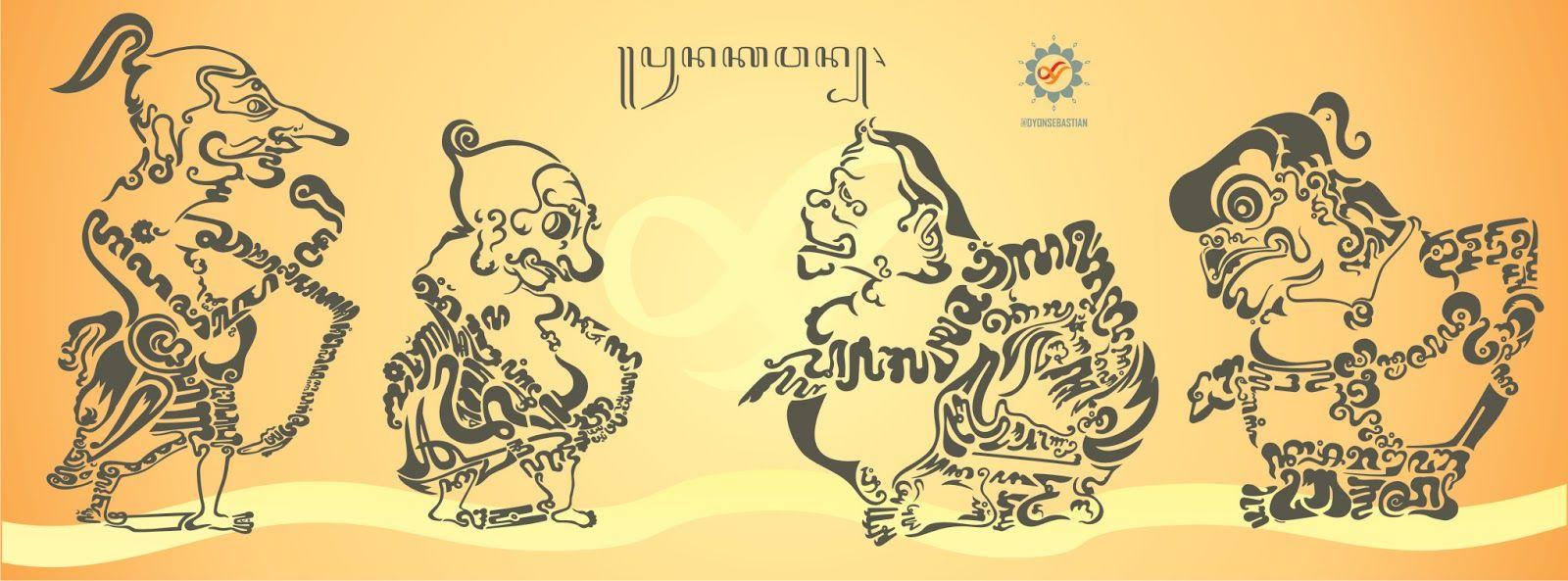 Vektor Kaligrafi Aksara Jawa Wayang Punakawan Gambar