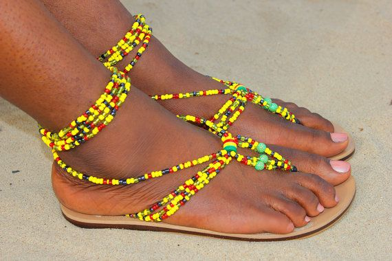 African beaded sandals, Brown Leather sandals,handmade sandals