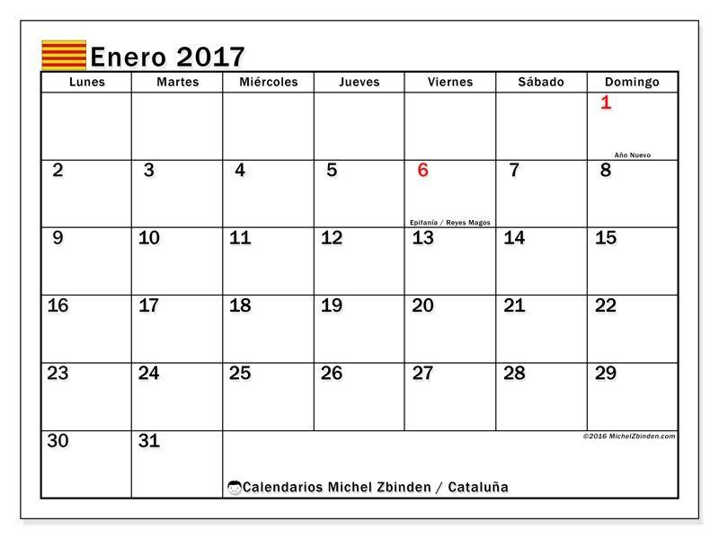 Gratis! Calendarios para enero 2017 para imprimir - España ...