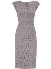 Grey lace pencil dress