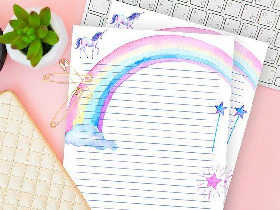 Digital Writing Paper Unicorn, Set of 2 Ruled Sheet Stationery - print writing paper