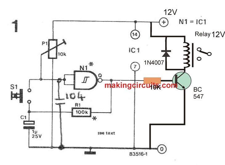 push-button on/off switch using schmitt trigger | electronic schematics,  schmitt trigger, electronics circuit  pinterest