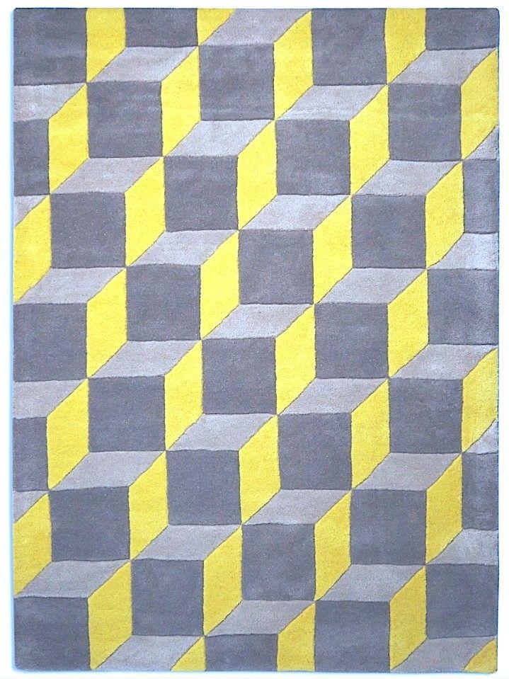 Beautiful 3D Geometric Rug Yellow U0026 Grey