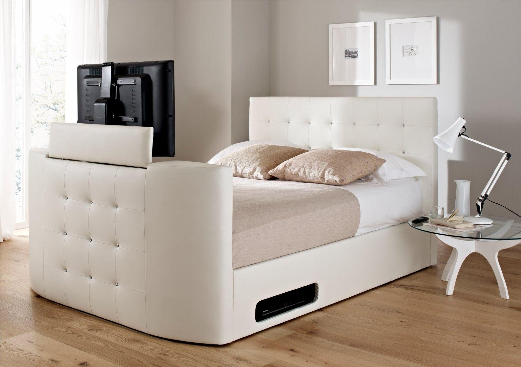 Wonderful Atlantis Leather Ottoman TV Bed   White   Ottoman Beds   Storage Beds   Beds