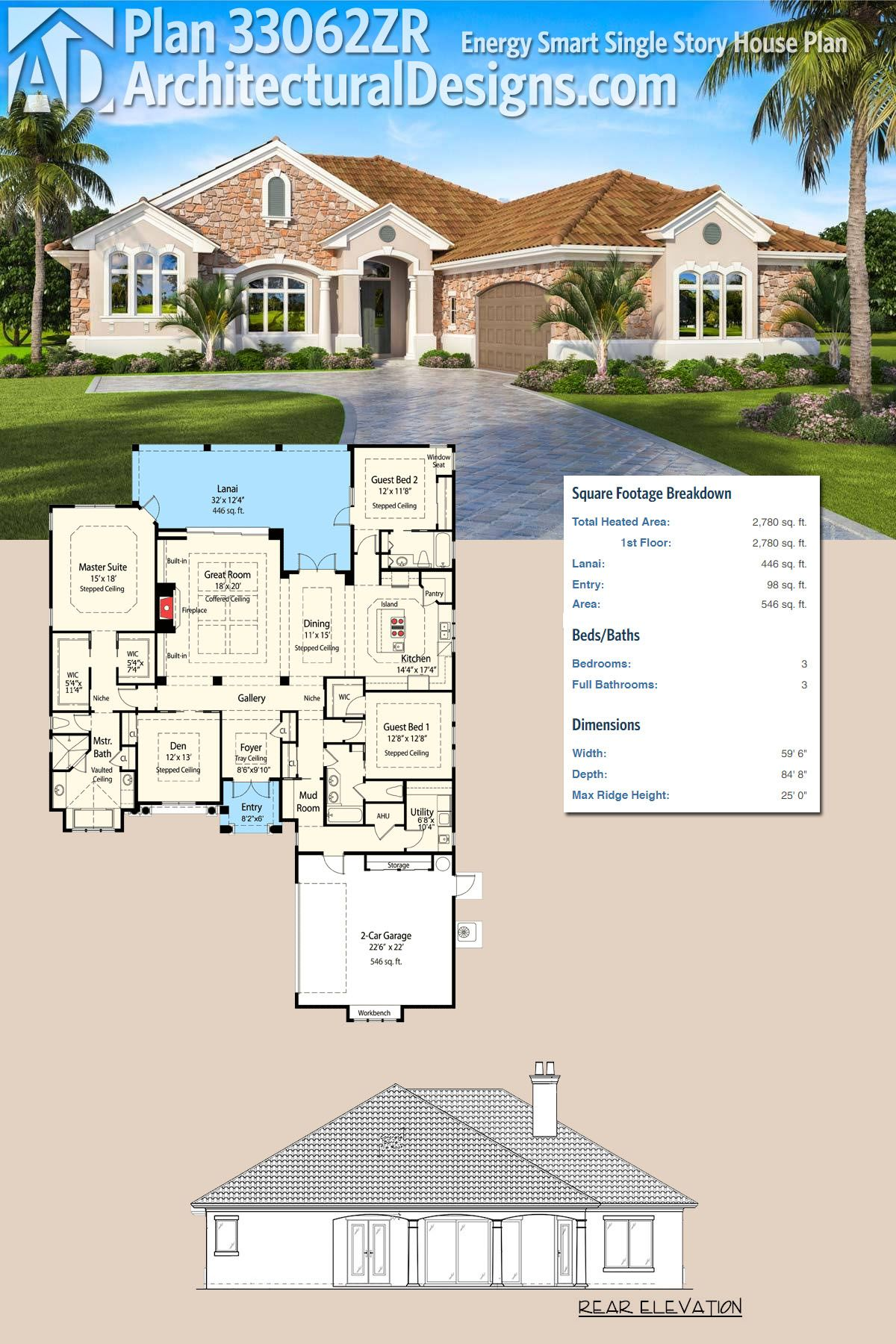 Plan 33062ZR: Energy Smart Single Story House Plan | Architectural ...