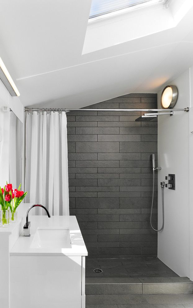Grey Shower Tile Bathroom Modern with Chrome Fixtures Corian Panels ...