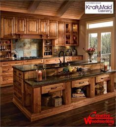 Rustic Kitchen Cabinets   like the cabinets, the low cabinets on island seems like a waste