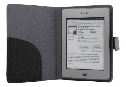 Accessorise(TM) Slim and Light Weight Kindle Touch (Black) leather case with self-adhesion by Accessorise Your Life. $3.99. Accessorise presents to you, a product of fine workmanship. Specifically designed for the Amazon Kindle Touch, this exceptional case is made of  a well-selected leather, and makes this case exquisite, soft, light and durable.   You'll feel the difference when you pick it up.  The Kindle Touch is thin, sleek and amazing.  Why hide it in a bulky...