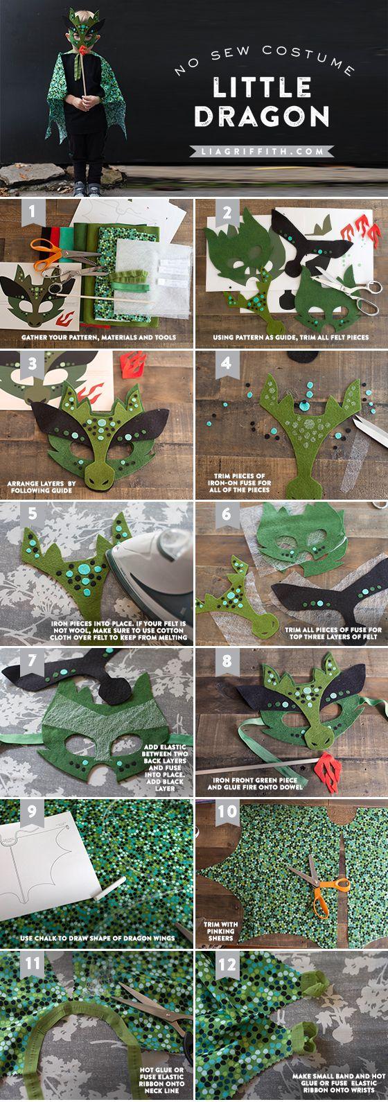 Homemade Halloween Costume - No-Sew Dragon Mask