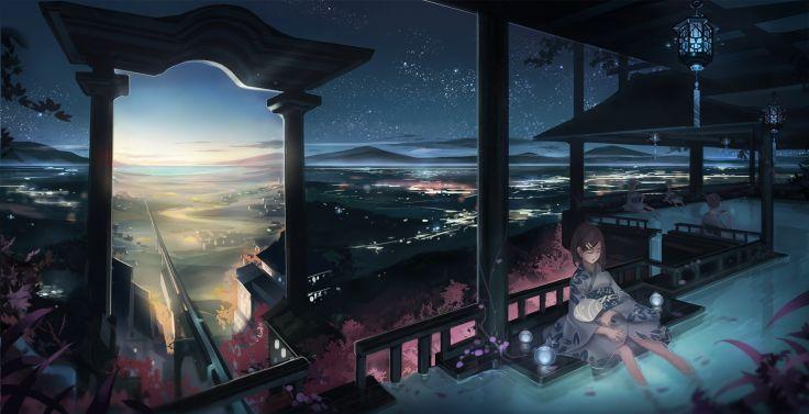 Japanese Clothes Monono Night Original Scenic Sky Sleeping Torii Water Wet Wallpaper Background Anime Scenery Japan Temple Sky Anime