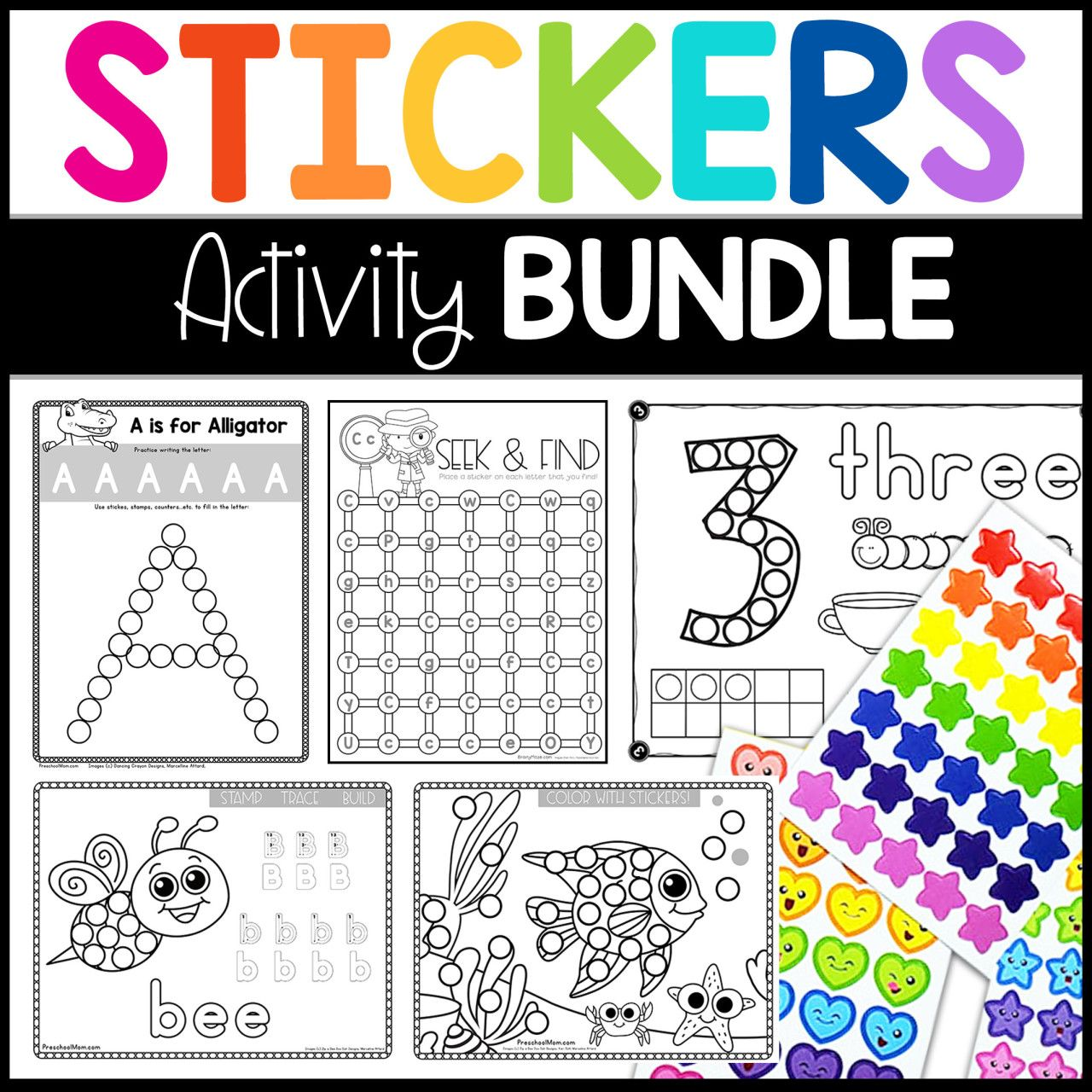 Sticker Worksheet Bundle Fine Motor Activity Pages
