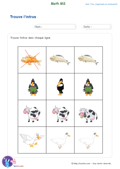 Favorit PDF Fiche Maternelle Exercice de Maths MS Trouver l'intrus  JX57