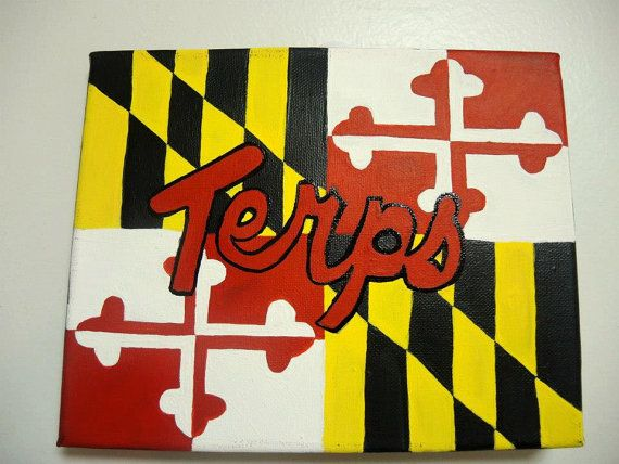University Of Maryland Terps And Flag Canvas Beer Cap Crafts Dorm Art University Of Maryland